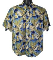 Natural Issue Mens Wrinkle Free Hawaiian Shirt Palm Trees Sailboats Sz L