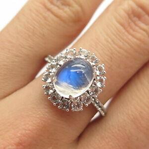 925 Sterling Silver Real Moonstone & White Topaz Gem Ring