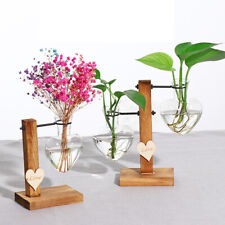 Heart Design Glass Tube Flower Vase Pots Plant Clear Pot Wooden Tray Home Decor
