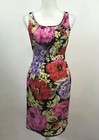 Banana Republic Sheath Knee Length Party Dress Floral Sleeveless Women's Sz 2