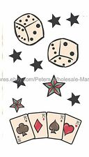 US SELLER, body tattoo sticker playing cards dice stars temporary tattoo