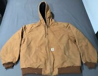 Vintage Carhartt Hooded Jacket Brown Quilt Lined Made In USA Size XL