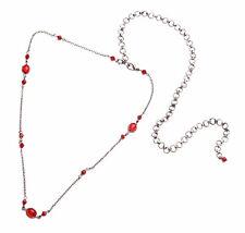 FESTIVAL STYLE,GUNMETAL CHAIN & RED BEAD ladies fashion belt 20-36 inch (ZX50)