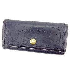 Auth COACH Fastener Wallet Signature Stitch unisexused H480