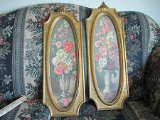 Vintage Home Interiors Wall Hangings Dart Ind # 4913 Two Gold Floral Pictures