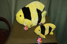 BUBBLES the Yellow & Black FISH - Sea life - Ty Beanie Baby and BUDDY  - MWMT