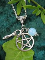Silver Celtic Pentacle Goddess Necklace Gothic Wicca  Pagan Pendant Fantasy Moon