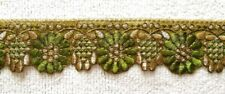 OLIVE GREEN & GOLD EMBROIDERED TRIM/RIBBON - SOLD PER METRE - 6.5CM'S WIDE