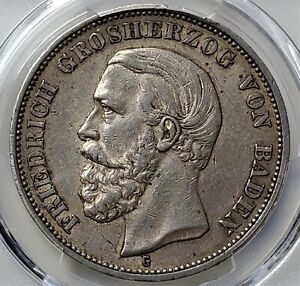 5 Mark 1899 G BADEN Friedrich I German States AU50 PCGS Ultra Rare! Value 1350$!