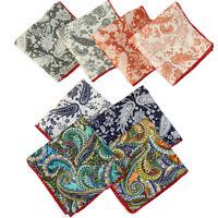 Men Fashion Cotton Paisley Pocket Square Handkerchief Wedding Party Hanky 10''