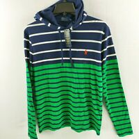 Polo Ralph Lauren Jersey Long Sleeve Tee Hoodie Mens Small Blue Green Stripe $75