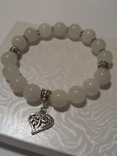 Handcrafted white jade gemstone bead stretch bracelet 7.25 inches