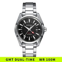 41MM GMT Automatic Watch Black Aqua-Terra Homage Domed Sapphire Crystal 100M WR