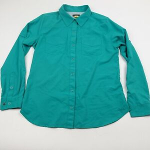 Cabelas Button Up Shirt Adult Medium Teal Blue Vented Fishing Hiking Womens