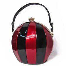 DESIGNER INSPIRED BURGUNDY BLACK BEACH BALL TOP HANDLE FRAME SHOULDER HANDBAG