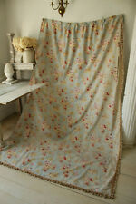 Curtain Antique Pattern w/ Children & Farm Animals Pale Blue Cotton Fabric c1885