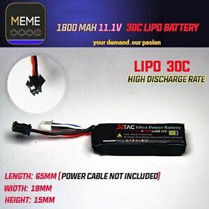 11.1V 1800mAh 30C Lipo Battery  Male SM Plug JM APS CYMA Short Cell Gel Blaster
