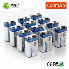 EBL 600mAh 9V Li-ion Rechargeable Batteries 6F22 9Volt Battery High Capacity Lot