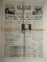 N576 La Une Du Journal Le jour 18 juin 1940 la France abattue mais pas vaincue