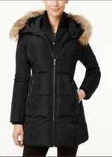 Michael Kors Jacket Coat Warm Puffer Parka Hood No Fur Trim Down Black M $350