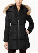 Michael Kors Jacket Coat Warm Puffer Parka Hood Faux Fur Trim Down Black M $350