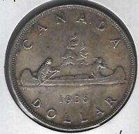 1936 Canada Dollar Coin AU-50