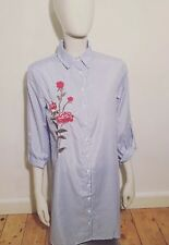 Blue Rose Embroidered Pinstripe Shirt Dress Size 14