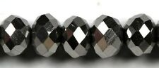 Chinese Glass Crystal Faceted 8x10mm Silver Rondelle. Approx. 8 Inch Strand.