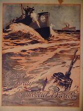 PUBLICITÉ 1919 LES MOTEURS BALLOT CONTRE LES PIRATES - IMPRIMÉ PAPIER SURGLACÉ