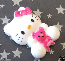 "US SELLER - 10 pcs x (1 1/8"") Resin Kitty Cat Flatback Beads/Hello/Bear SB335H"