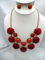 Pierced gold, orange, pink double strand necklace & earring set
