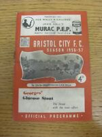27/10/1956 Bristol City v Huddersfield Town  (Creased, Folded, Worn, Score Noted
