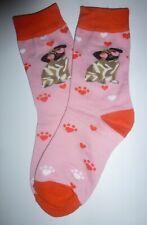 1 Paar Damen Mädchen Socken Hund Hunde Mops Herz Pfote rosa pink Gr. 36 - 39 NEU