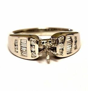 Platinum .44ct VS G diamond semi mount engagement ring band 11.2g estate vintage