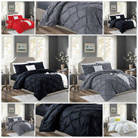 Luxury Pin tuck Duvet Quilt Cover Set Single Double King Size Bedding Set
