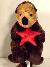 "AURORA Stuff Plush Woodland Animal OTTER with Red Starfish 10"""