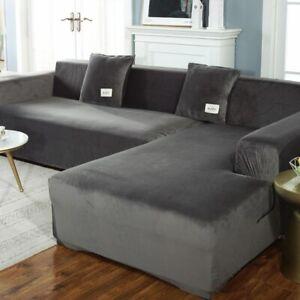 Elastic Plush Sofa Covers Velvet Corner Couch Cover L Shape Furniture Slipcovers