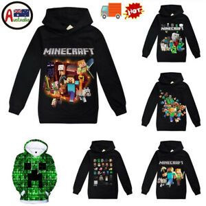 Kids Minecraft Pullover Hoodie Jumper Boys Girls School Casual Sweat Shirt Tops