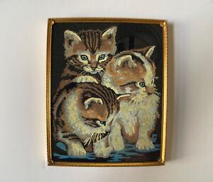 """VTG Completed Paint by Number 3 Tabby Kittens Black Velvet Vintage Frame 8""""x10"""""""