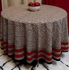 "Hand Block Print Cotton Dabu Tablecloth 90"" Round Brick Red Beige Tan Black"