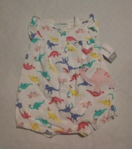 NWT Carter's Dinosaur Snap Up Short Romper One Piece 6 Months Baby Girl