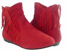 Women Boots Style Ankle High Fashion Faux Suede Fringe Moccasin CowBoy Shoes
