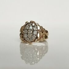 10K Men's 1 ctw Diamond Cluster Nugget Ring with Ridged Sides by CL (sz 12)
