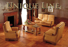 GUSTAW 3 PIECE SUITE - SOLID OAK FRAME & TOP GRAIN LEATHER DECORATED BY STUDS