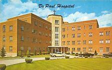 Cheyenne Wyoming~De Paul Hospital~1950s Cars-Truck in Circle Driveway~Postcard