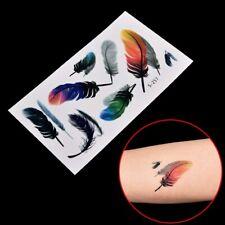 Flash Einmal Temporary Klebe Tattoo Feder Schwarz Blau Körper Body Geschenk WOW