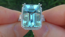14.00 ct 'FLAWLESS' Man Made Aquamarine Gemstone 925 Sterling Silver Estate Ring