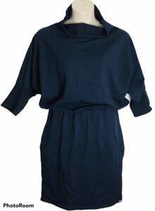 Ladies Dress Size 2xl (18-20) Navy Cowl Neck 3/4 Sleeve Midi Elastic Waist Work