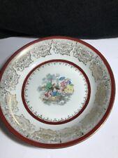 "Limoges France Large Porcelain Serving Bowl English Scene With Gold Accent 10.5"""