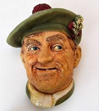 "Vintage 1969 Bossons England 'Jock' Chalkware Figurine Head Wall Hanging 5.5"""